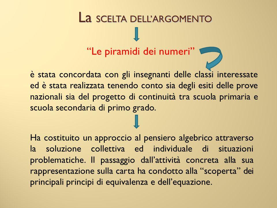 """La SCELTA DELL'ARGOMENTO """"Le piramidi dei numeri"""" è stata concordata con gli insegnanti delle classi interessate ed è stata realizzata tenendo conto s"""