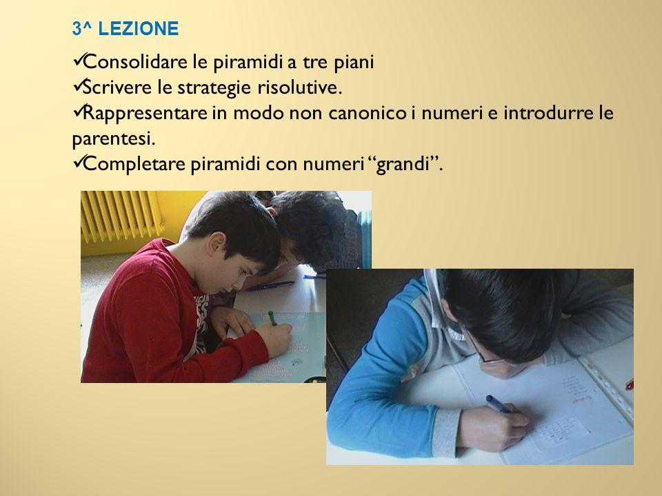 3^ LEZIONE Consolidare le piramidi a tre piani Scrivere le strategie risolutive. Rappresentare in modo non canonico i numeri e introdurre le parentesi