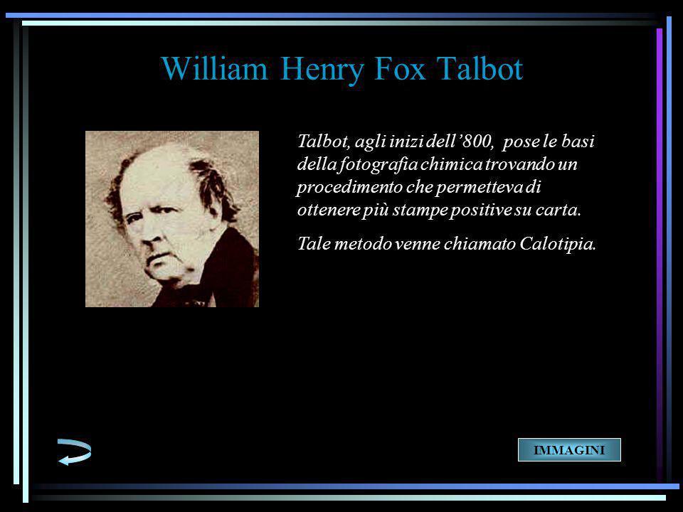 Talbot, agli inizi dell'800, pose le basi della fotografia chimica trovando un procedimento che permetteva di ottenere più stampe positive su carta.
