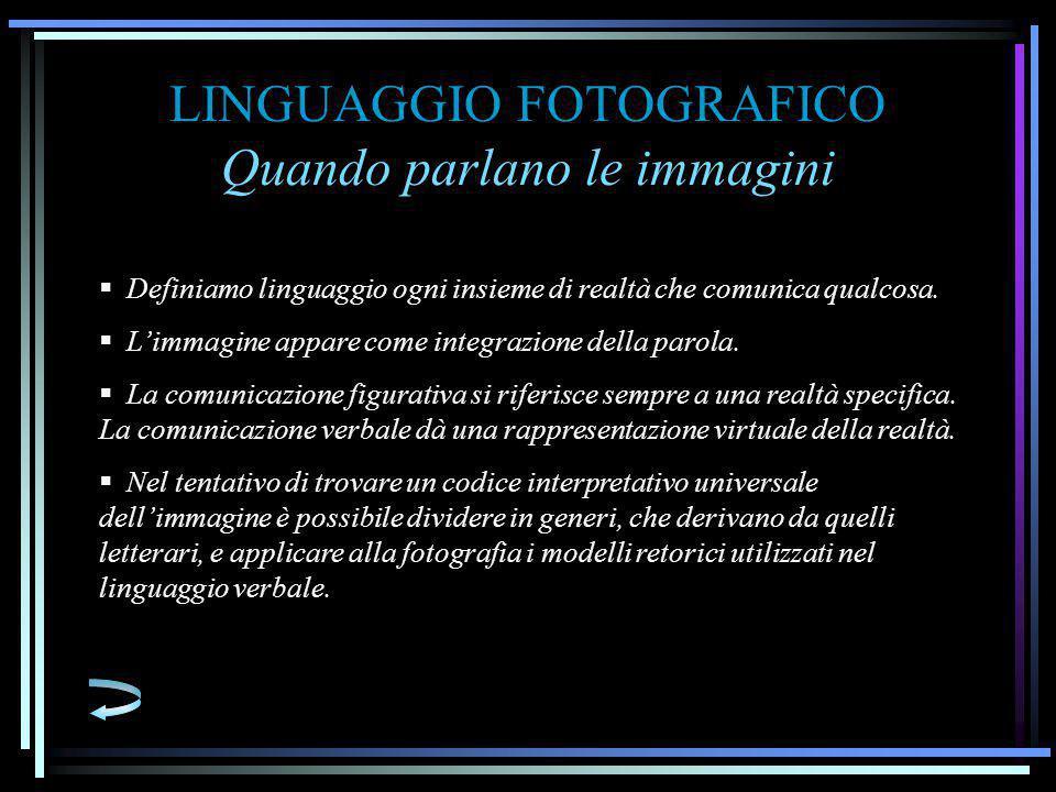 LINGUAGGIO FOTOGRAFICO Quando parlano le immagini  Definiamo linguaggio ogni insieme di realtà che comunica qualcosa.