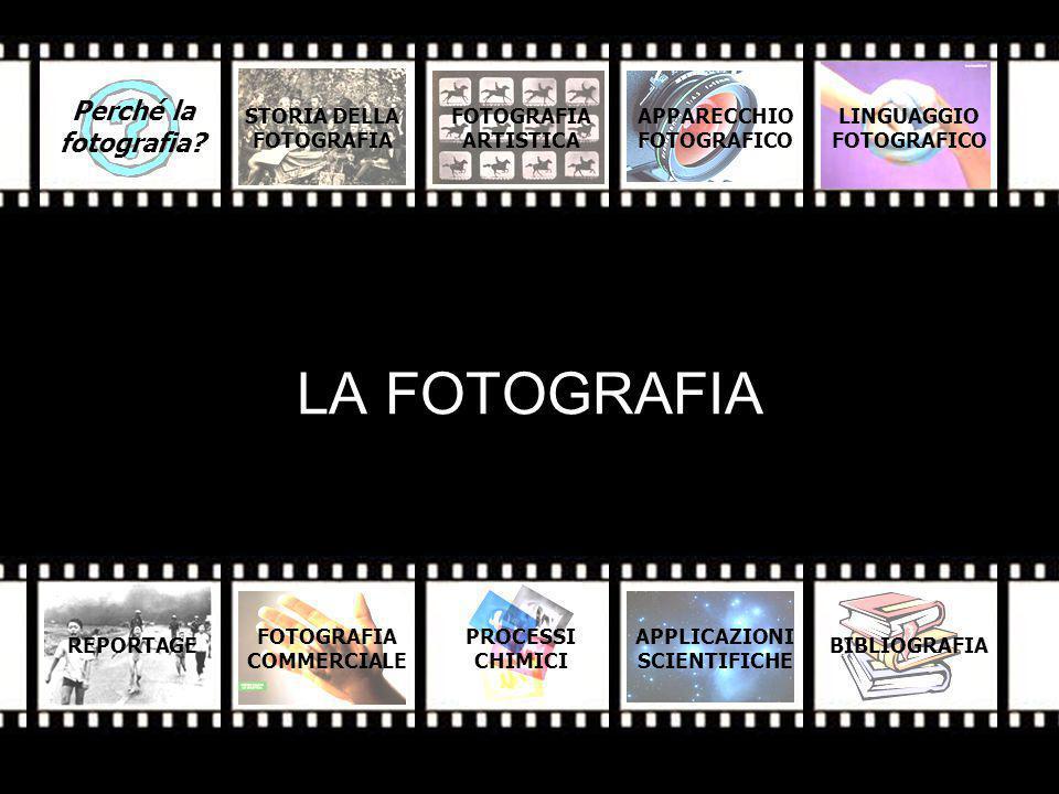 LA FOTOGRAFIA STORIA DELLA FOTOGRAFIA ARTISTICA APPARECCHIO FOTOGRAFICO REPORTAGE FOTOGRAFIA COMMERCIALE PROCESSI CHIMICI APPLICAZIONI SCIENTIFICHE BIBLIOGRAFIA Perché la fotografia.