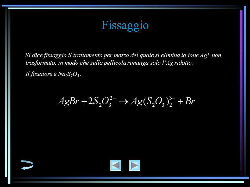 Fissaggio Si dice fissaggio il trattamento per mezzo del quale si elimina lo ione Ag + non trasformato, in modo che sulla pellicola rimanga solo l'Ag ridotto.
