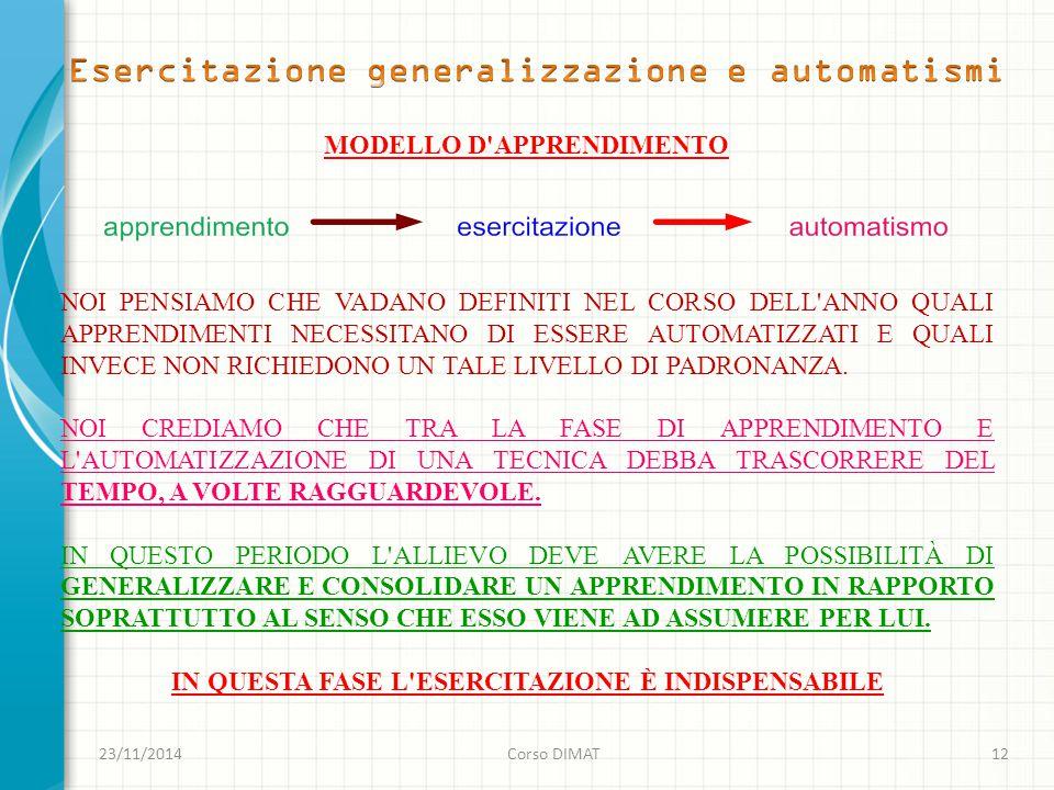 23/11/2014Corso DIMAT12 MODELLO D APPRENDIMENTO NOI PENSIAMO CHE VADANO DEFINITI NEL CORSO DELL ANNO QUALI APPRENDIMENTI NECESSITANO DI ESSERE AUTOMATIZZATI E QUALI INVECE NON RICHIEDONO UN TALE LIVELLO DI PADRONANZA.