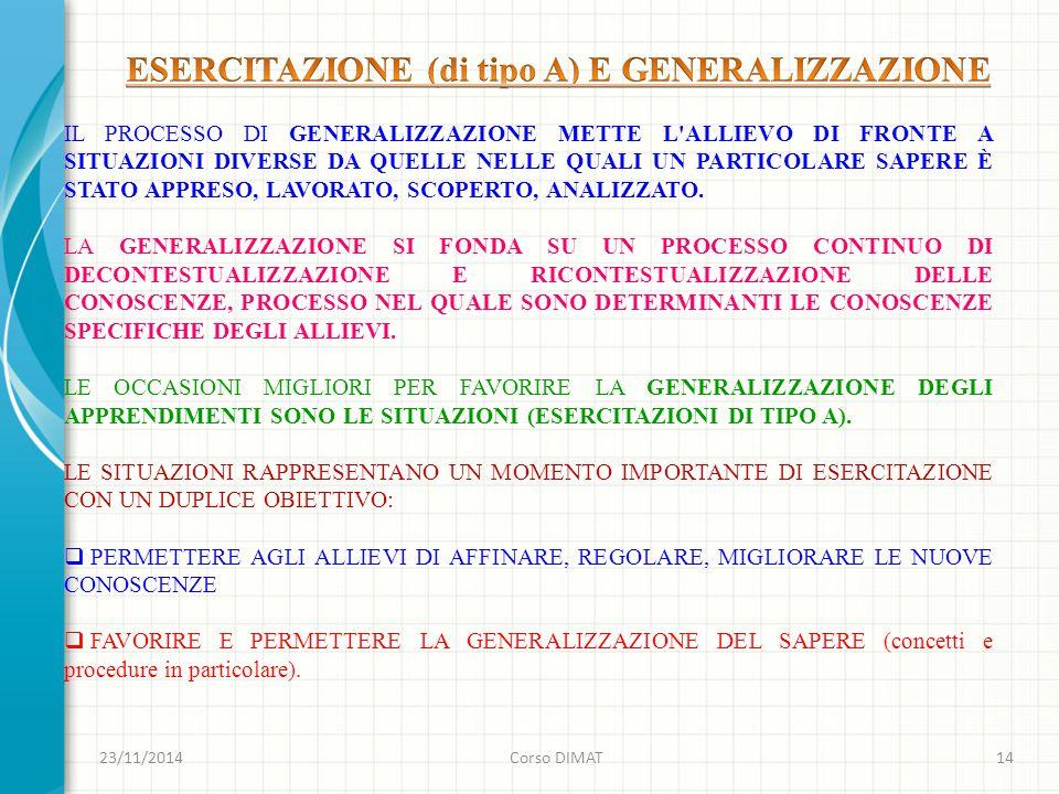 23/11/2014Corso DIMAT14 IL PROCESSO DI GENERALIZZAZIONE METTE L ALLIEVO DI FRONTE A SITUAZIONI DIVERSE DA QUELLE NELLE QUALI UN PARTICOLARE SAPERE È STATO APPRESO, LAVORATO, SCOPERTO, ANALIZZATO.