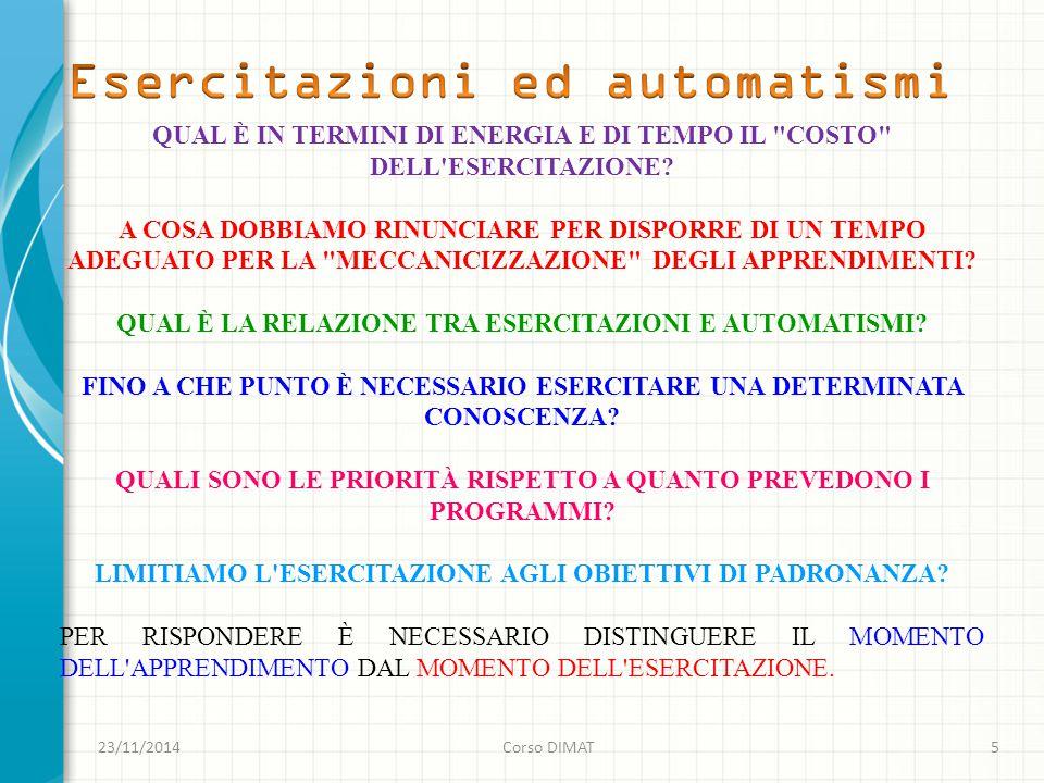 23/11/2014Corso DIMAT5 QUAL È IN TERMINI DI ENERGIA E DI TEMPO IL COSTO DELL ESERCITAZIONE.