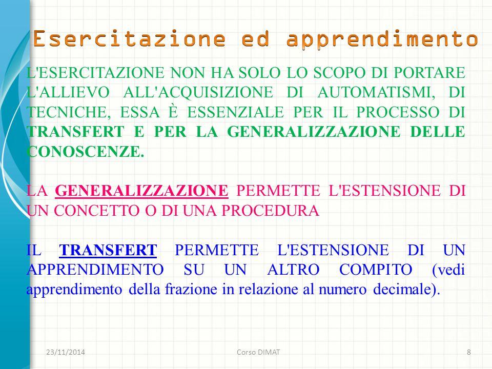 23/11/2014Corso DIMAT8 L ESERCITAZIONE NON HA SOLO LO SCOPO DI PORTARE L ALLIEVO ALL ACQUISIZIONE DI AUTOMATISMI, DI TECNICHE, ESSA È ESSENZIALE PER IL PROCESSO DI TRANSFERT E PER LA GENERALIZZAZIONE DELLE CONOSCENZE.