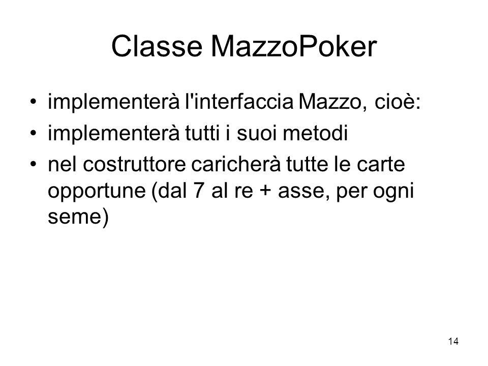 14 Classe MazzoPoker implementerà l interfaccia Mazzo, cioè: implementerà tutti i suoi metodi nel costruttore caricherà tutte le carte opportune (dal 7 al re + asse, per ogni seme)