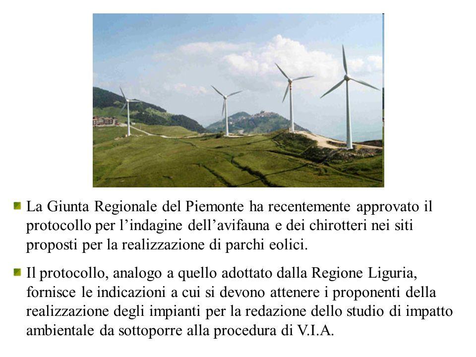 La Giunta Regionale del Piemonte ha recentemente approvato il protocollo per l'indagine dell'avifauna e dei chirotteri nei siti proposti per la realiz