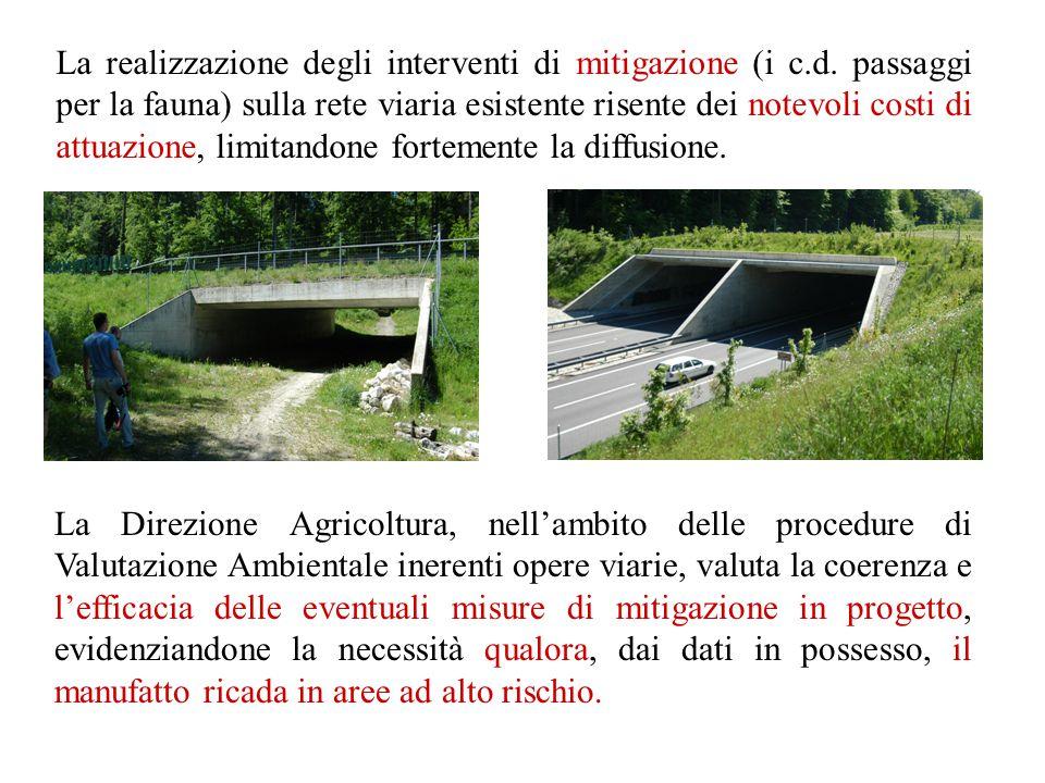 La realizzazione degli interventi di mitigazione (i c.d. passaggi per la fauna) sulla rete viaria esistente risente dei notevoli costi di attuazione,