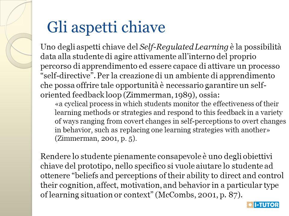 Gli aspetti chiave Uno degli aspetti chiave del Self-Regulated Learning è la possibilità data alla studente di agire attivamente all'interno del proprio percorso di apprendimento ed essere capace di attivare un processo self-directive .