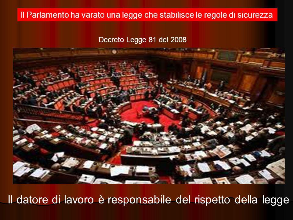 Il Parlamento ha varato una legge che stabilisce le regole di sicurezza Il datore di lavoro è responsabile del rispetto della legge Decreto Legge 81 del 2008