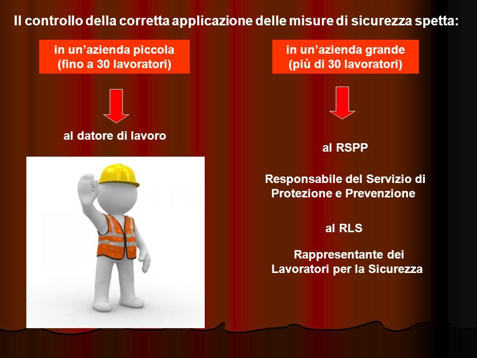 Il controllo della corretta applicazione delle misure di sicurezza spetta: in un'azienda piccola (fino a 30 lavoratori) al datore di lavoro in un'azienda grande (più di 30 lavoratori) al RSPP Responsabile del Servizio di Protezione e Prevenzione al RLS Rappresentante dei Lavoratori per la Sicurezza