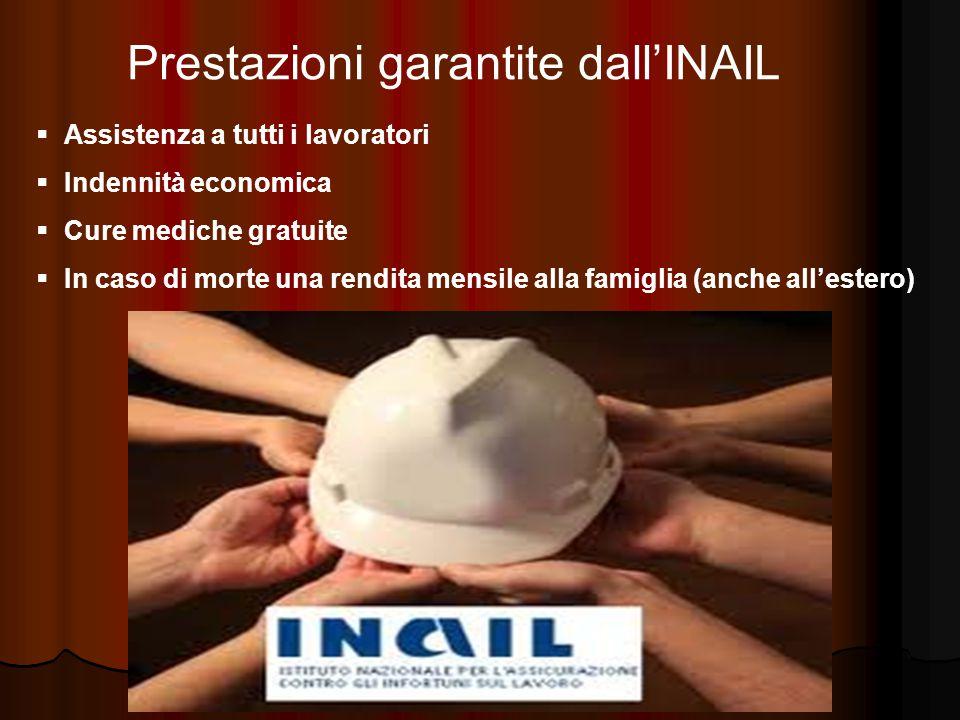 Prestazioni garantite dall'INAIL  Assistenza a tutti i lavoratori  Indennità economica  Cure mediche gratuite  In caso di morte una rendita mensile alla famiglia (anche all'estero)