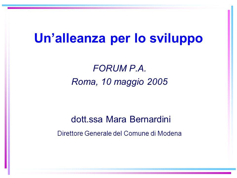 Un'alleanza per lo sviluppo FORUM P.A. Roma, 10 maggio 2005 dott.ssa Mara Bernardini Direttore Generale del Comune di Modena