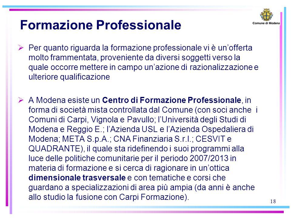 18 Formazione Professionale  Per quanto riguarda la formazione professionale vi è un'offerta molto frammentata, proveniente da diversi soggetti verso