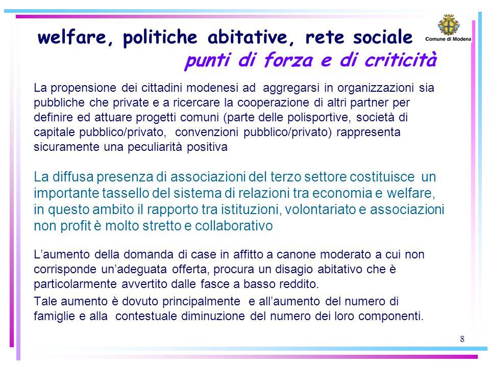 8 welfare, politiche abitative, rete sociale punti di forza e di criticità La propensione dei cittadini modenesi ad aggregarsi in organizzazioni sia p
