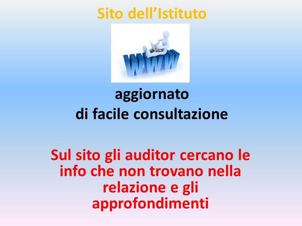 Sito dell'Istituto aggiornato di facile consultazione Sul sito gli auditor cercano le info che non trovano nella relazione e gli approfondimenti