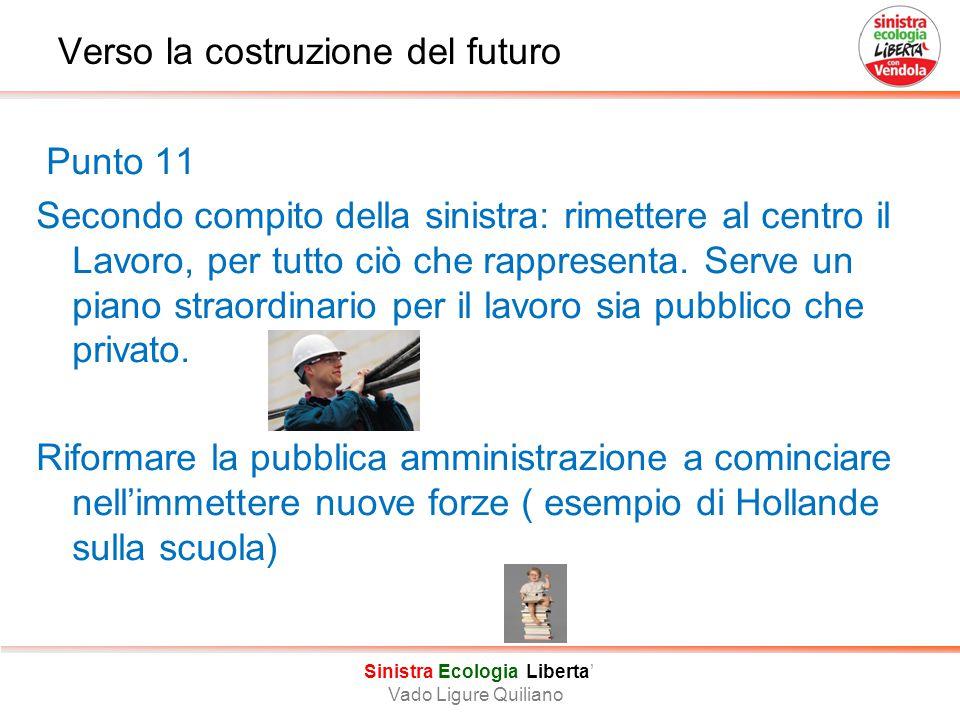 Verso la costruzione del futuro Punto 11 Secondo compito della sinistra: rimettere al centro il Lavoro, per tutto ciò che rappresenta.