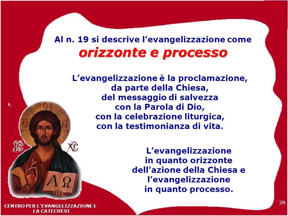 28 CENTRO PER L EVANGELIZZAZIONE E LA CATECHESI LA CATECHESI orizzonte e processo Al n.
