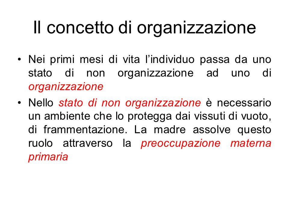 Il concetto di organizzazione Nei primi mesi di vita l'individuo passa da uno stato di non organizzazione ad uno di organizzazione Nello stato di non organizzazione è necessario un ambiente che lo protegga dai vissuti di vuoto, di frammentazione.