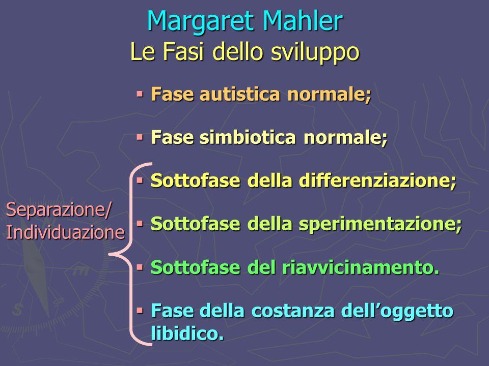 Margaret Mahler Le Fasi dello sviluppo  Fase autistica normale;  Fase simbiotica normale;  Sottofase della differenziazione;  Sottofase della sperimentazione;  Sottofase del riavvicinamento.