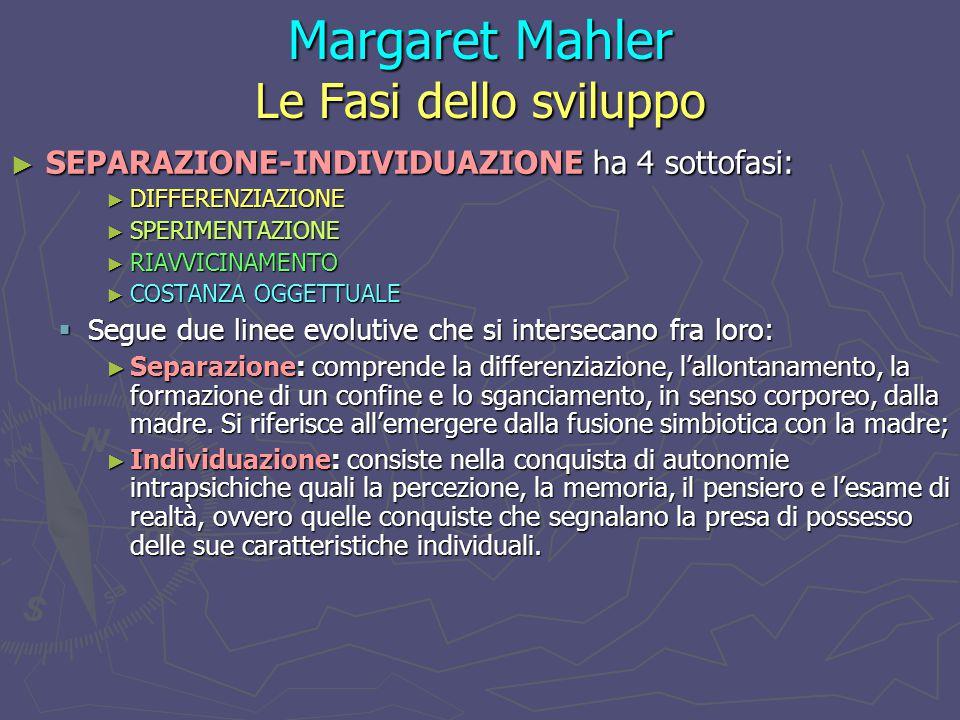 Margaret Mahler Le Fasi dello sviluppo ► SEPARAZIONE-INDIVIDUAZIONE ha 4 sottofasi: ► DIFFERENZIAZIONE ► SPERIMENTAZIONE ► RIAVVICINAMENTO ► COSTANZA OGGETTUALE  Segue due linee evolutive che si intersecano fra loro: ► Separazione: comprende la differenziazione, l'allontanamento, la formazione di un confine e lo sganciamento, in senso corporeo, dalla madre.