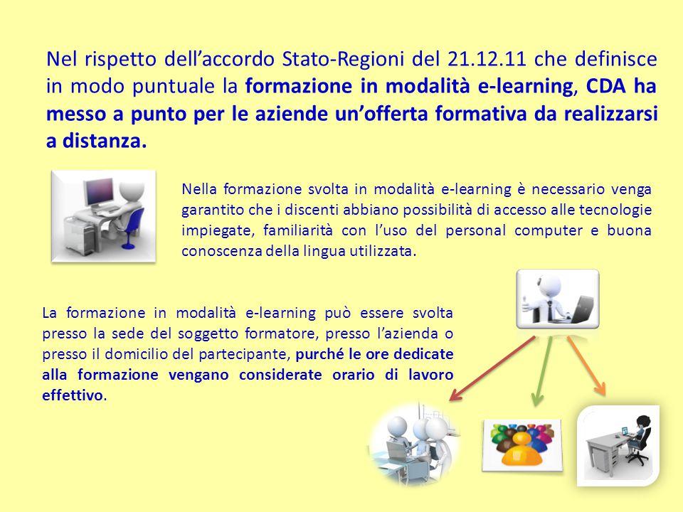 Nel rispetto dell'accordo Stato-Regioni del 21.12.11 che definisce in modo puntuale la formazione in modalità e-learning, CDA ha messo a punto per le aziende un'offerta formativa da realizzarsi a distanza.
