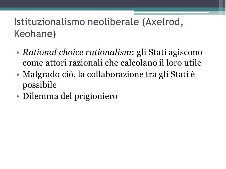 Istituzionalismo neoliberale (Axelrod, Keohane) Rational choice rationalism: gli Stati agiscono come attori razionali che calcolano il loro utile Malgrado ciò, la collaborazione tra gli Stati è possibile Dilemma del prigioniero