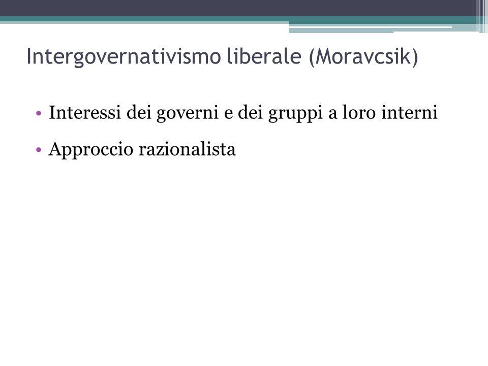 Intergovernativismo liberale (Moravcsik) Interessi dei governi e dei gruppi a loro interni Approccio razionalista