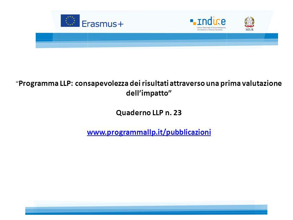Programma LLP: consapevolezza dei risultati attraverso una prima valutazione dell'impatto Quaderno LLP n.