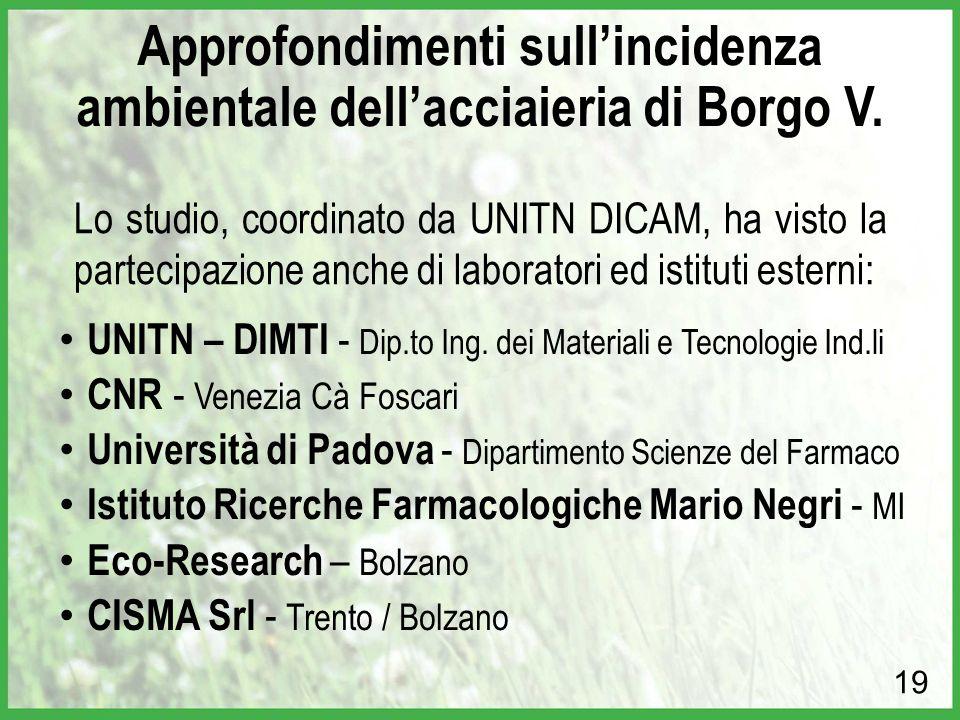 Lo studio, coordinato da UNITN DICAM, ha visto la partecipazione anche di laboratori ed istituti esterni: 19 Approfondimenti sull'incidenza ambientale dell'acciaieria di Borgo V.