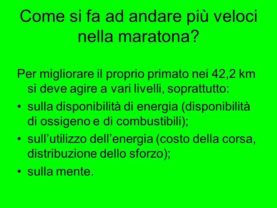 Come si fa ad andare più veloci nella maratona? Per migliorare il proprio primato nei 42,2 km si deve agire a vari livelli, soprattutto: sulla disponi