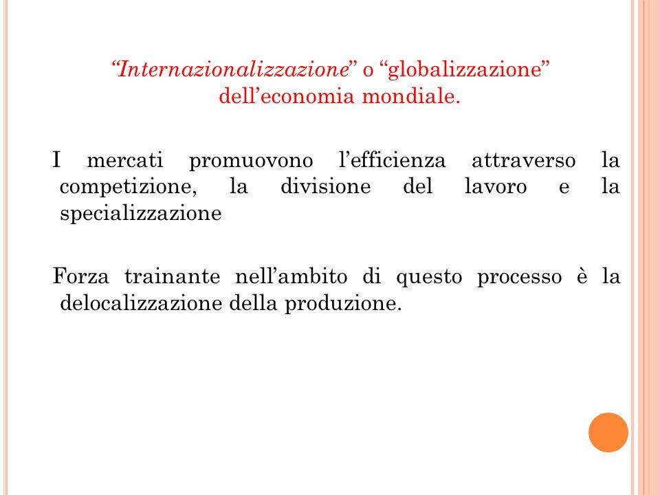"""""""Internazionalizzazione """" o """"globalizzazione"""" dell'economia mondiale. I mercati promuovono l'efficienza attraverso la competizione, la divisione del l"""