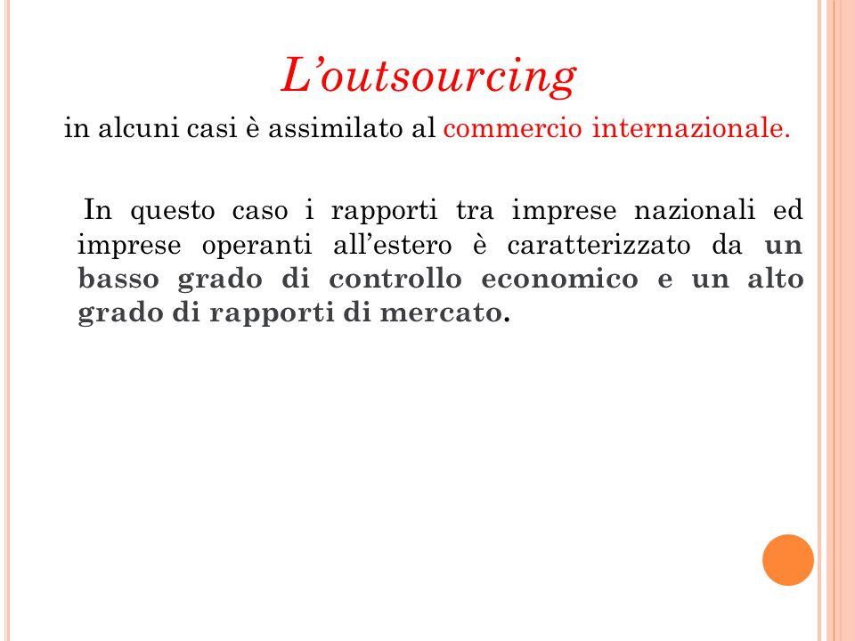 L'outsourcing in alcuni casi è assimilato al commercio internazionale. In questo caso i rapporti tra imprese nazionali ed imprese operanti all'estero
