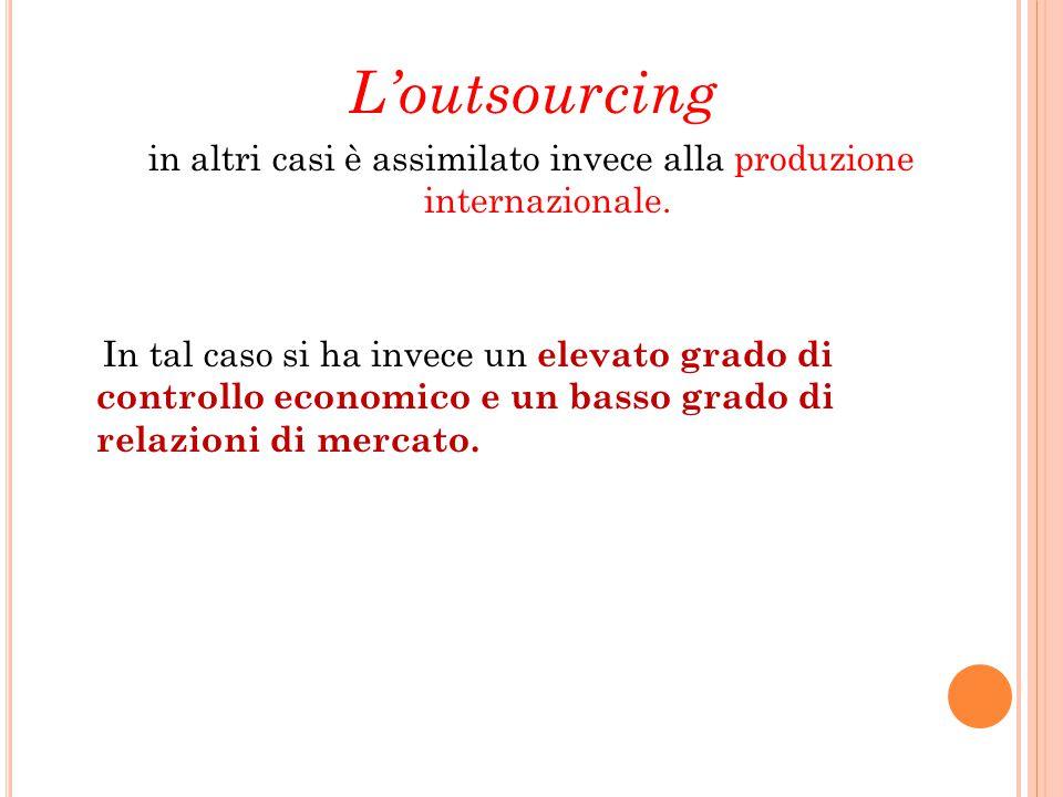 L'outsourcing in altri casi è assimilato invece alla produzione internazionale. In tal caso si ha invece un elevato grado di controllo economico e un