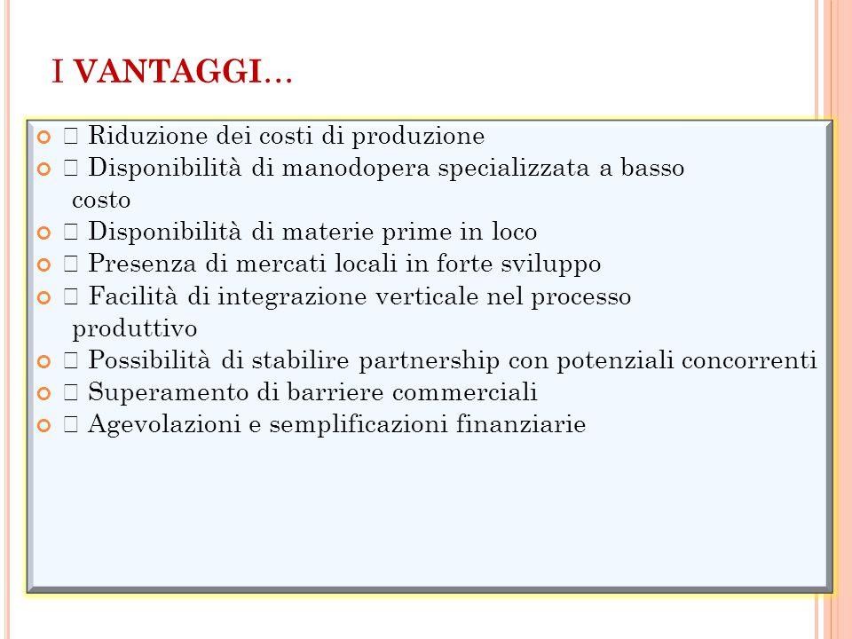 I VANTAGGI … • Riduzione dei costi di produzione • Disponibilità di manodopera specializzata a basso costo • Disponibilità di materie prime in loco •