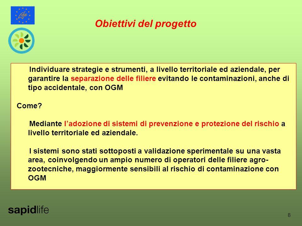 8 Obiettivi del progetto Individuare strategie e strumenti, a livello territoriale ed aziendale, per garantire la separazione delle filiere evitando le contaminazioni, anche di tipo accidentale, con OGM Come.