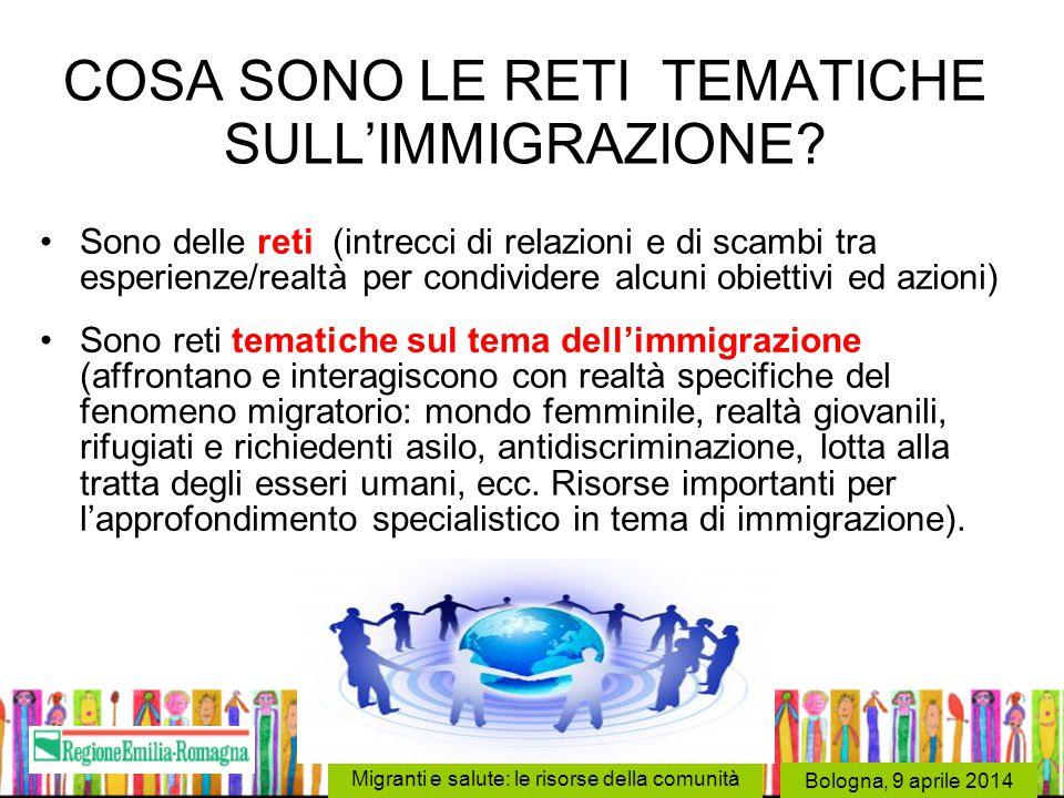 Bologna, 9 aprile 2014 Migranti e salute: le risorse della comunità COSA SONO LE RETI TEMATICHE SULL'IMMIGRAZIONE? Sono delle reti (intrecci di relazi