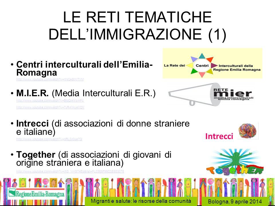 Bologna, 9 aprile 2014 Migranti e salute: le risorse della comunità LE RETI TEMATICHE DELL'IMMIGRAZIONE (1) Centri interculturali dell'Emilia- Romagna
