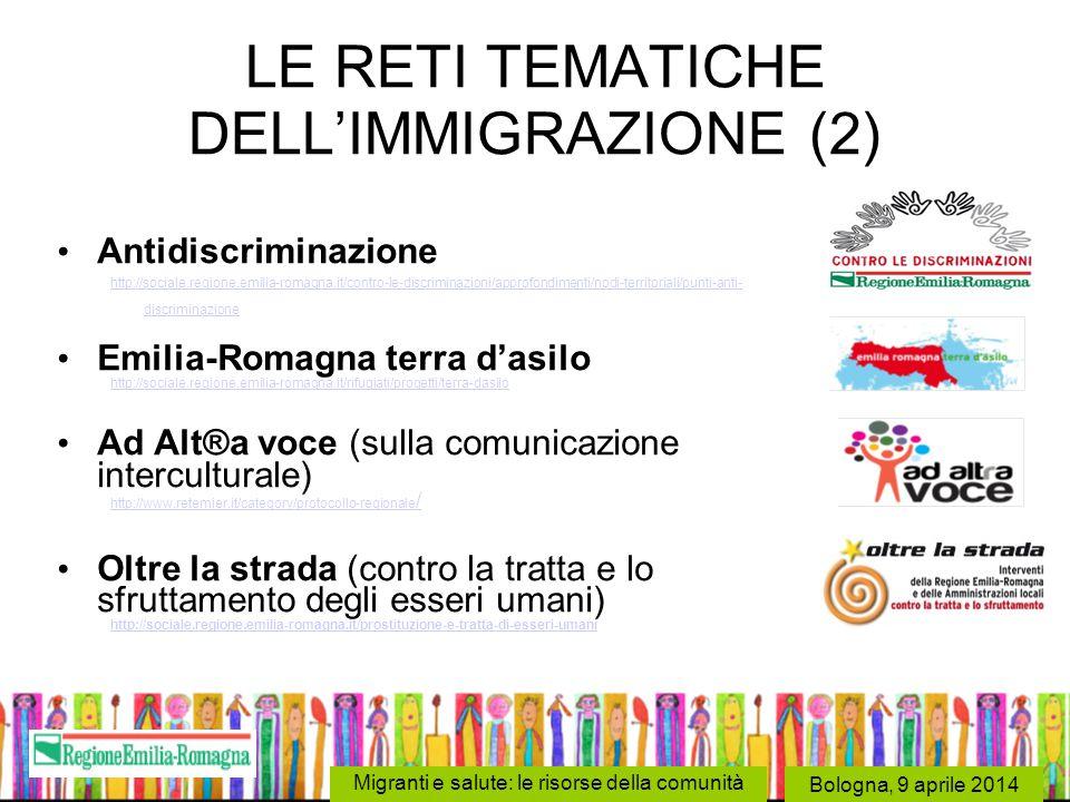 Bologna, 9 aprile 2014 Migranti e salute: le risorse della comunità LE RETI TEMATICHE DELL'IMMIGRAZIONE (2) Antidiscriminazione http://sociale.regione