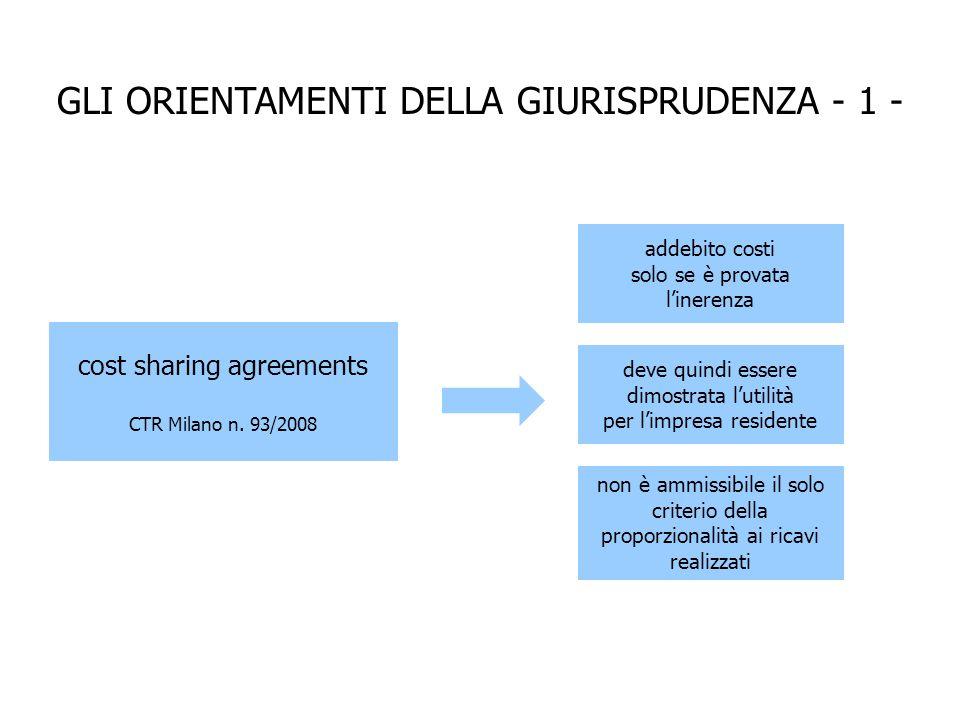 GLI ORIENTAMENTI DELLA GIURISPRUDENZA - 1 - cost sharing agreements CTR Milano n.