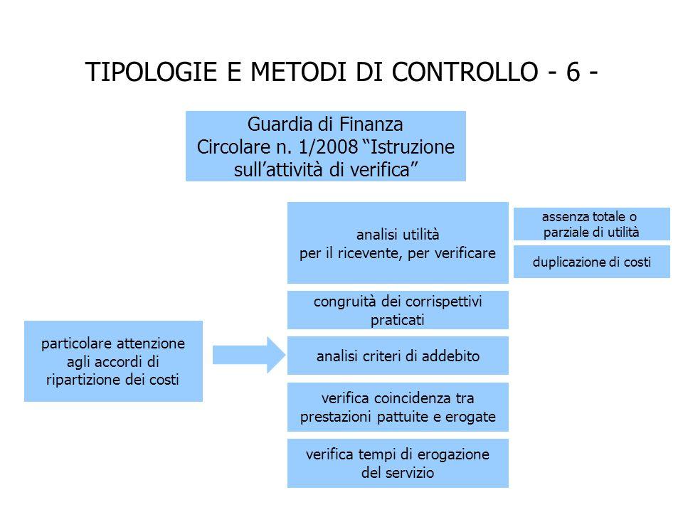 particolare attenzione agli accordi di ripartizione dei costi Guardia di Finanza Circolare n.