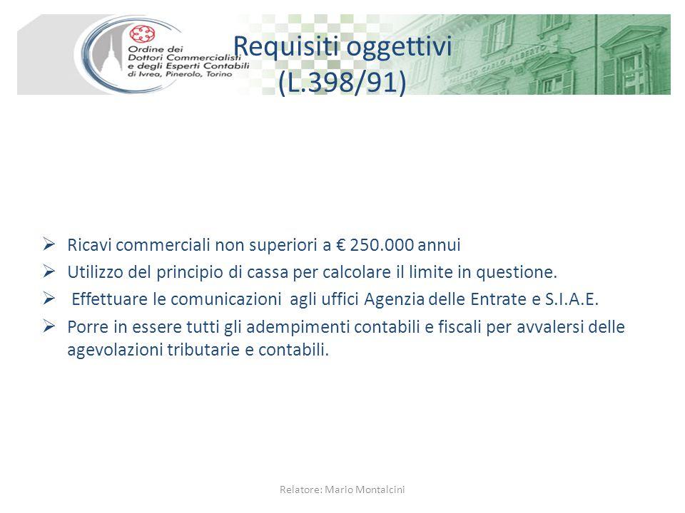 Requisiti oggettivi (L.398/91)  Ricavi commerciali non superiori a € 250.000 annui  Utilizzo del principio di cassa per calcolare il limite in questione.