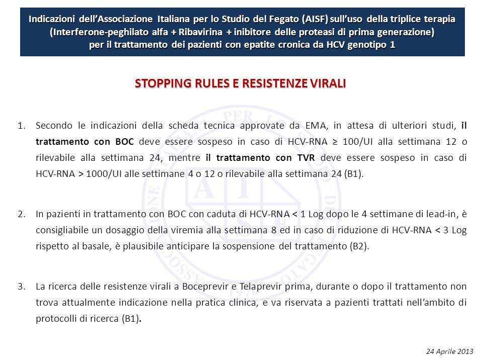 Indicazioni dell'Associazione Italiana per lo Studio del Fegato (AISF) sull'uso della triplice terapia (Interferone-peghilato alfa + Ribavirina + inibitore delle proteasi di prima generazione) per il trattamento dei pazienti con epatite cronica da HCV genotipo 1 1.Secondo le indicazioni della scheda tecnica approvate da EMA, in attesa di ulteriori studi, il trattamento con BOC deve essere sospeso in caso di HCV‐RNA ≥ 100/UI alla settimana 12 o rilevabile alla settimana 24, mentre il trattamento con TVR deve essere sospeso in caso di HCV‐RNA > 1000/UI alle settimane 4 o 12 o rilevabile alla settimana 24 (B1).