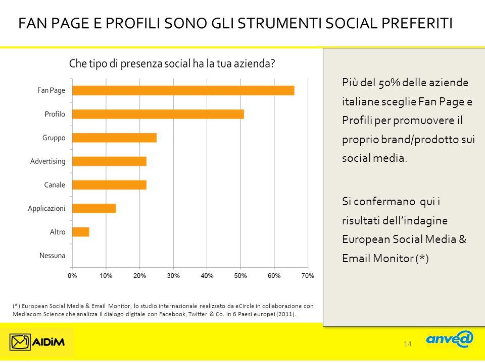 FAN PAGE E PROFILI SONO GLI STRUMENTI SOCIAL PREFERITI Più del 50% delle aziende italiane sceglie Fan Page e Profili per promuovere il proprio brand/prodotto sui social media.