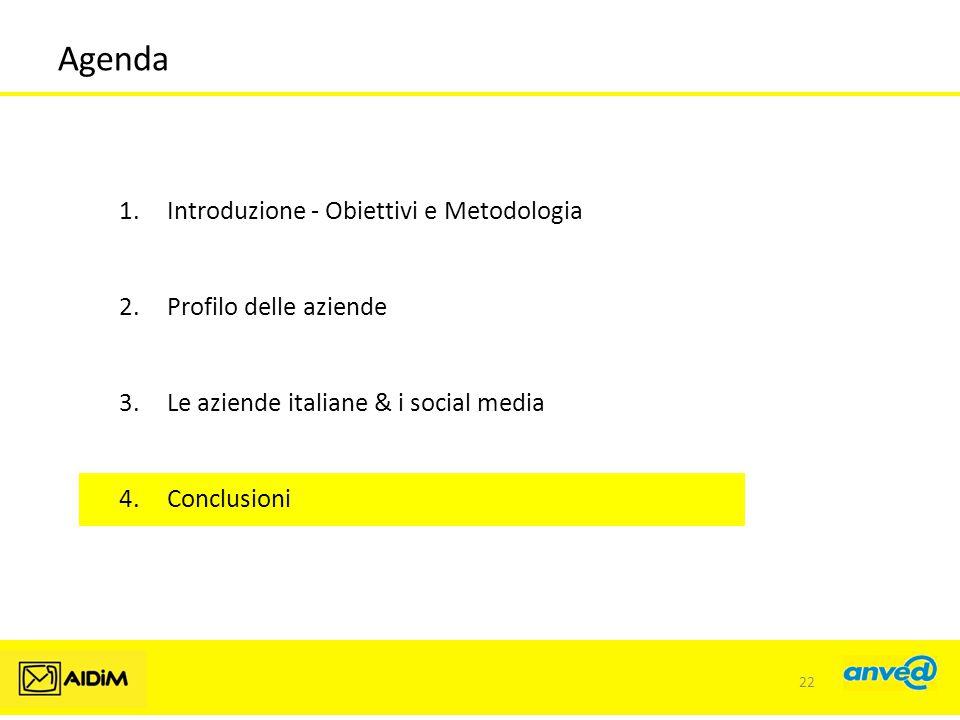 Agenda 1.Introduzione - Obiettivi e Metodologia 2.Profilo delle aziende 3.Le aziende italiane & i social media 4.Conclusioni 22