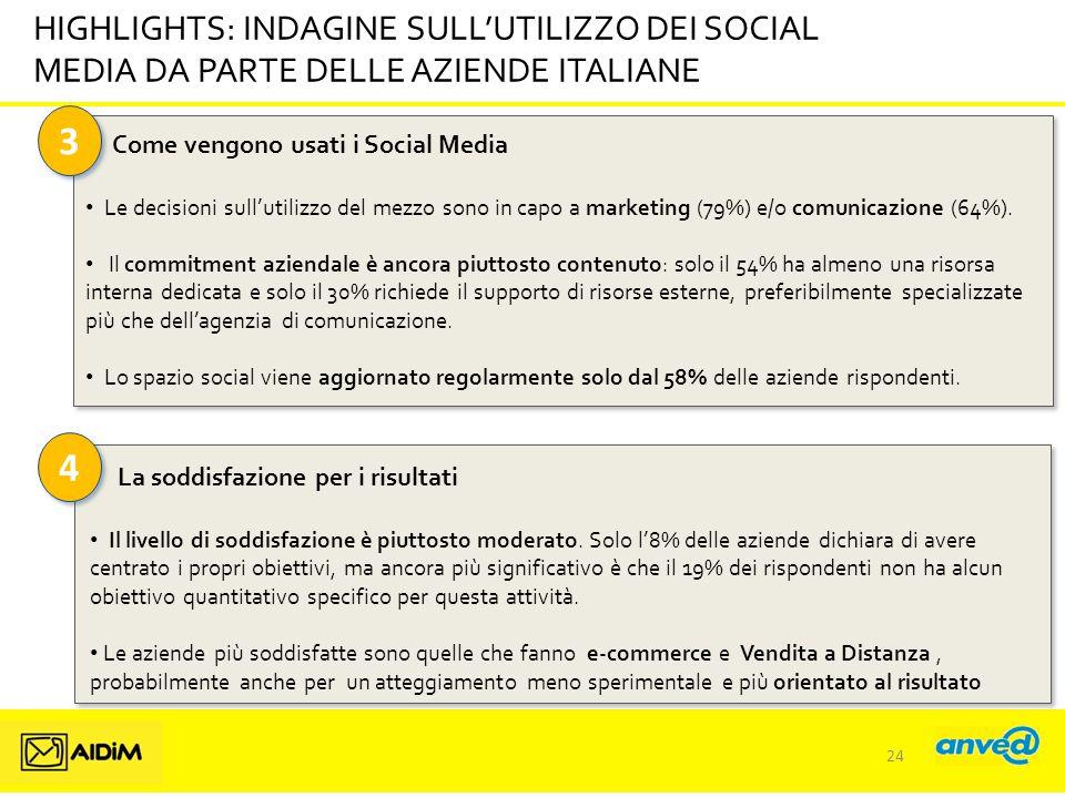3 3 HIGHLIGHTS: INDAGINE SULL'UTILIZZO DEI SOCIAL MEDIA DA PARTE DELLE AZIENDE ITALIANE Come vengono usati i Social Media Le decisioni sull'utilizzo del mezzo sono in capo a marketing (79%) e/o comunicazione (64%).