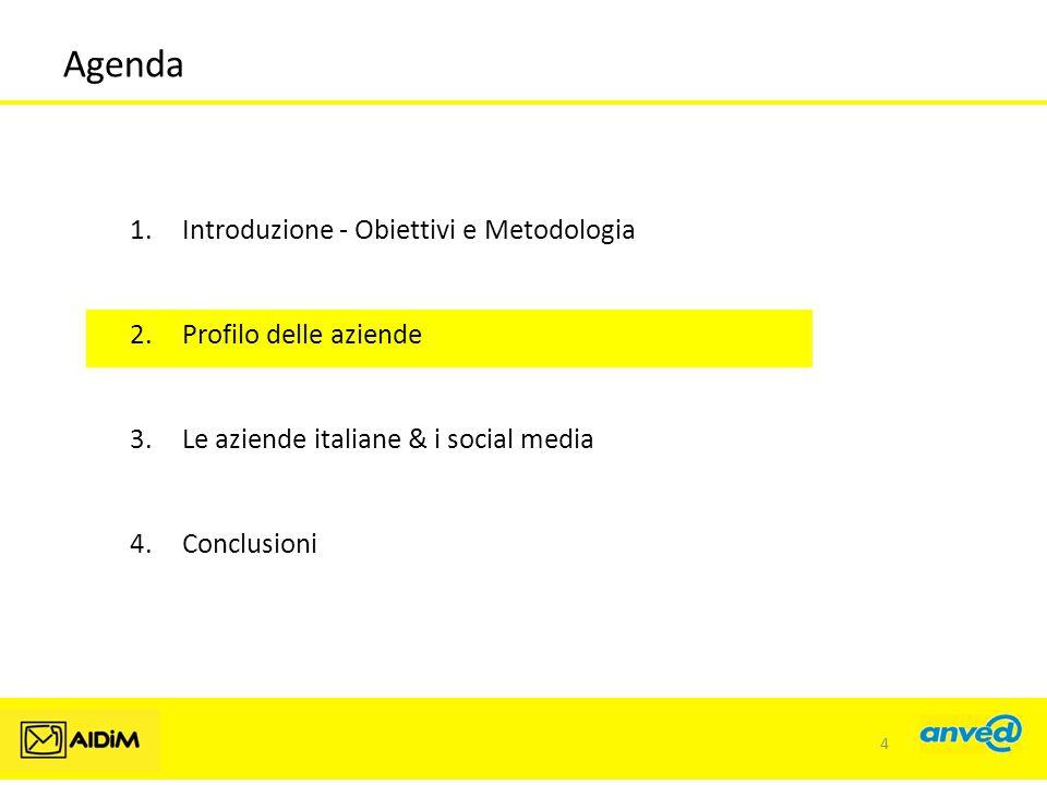 Agenda 1.Introduzione - Obiettivi e Metodologia 2.Profilo delle aziende 3.Le aziende italiane & i social media 4.Conclusioni 4