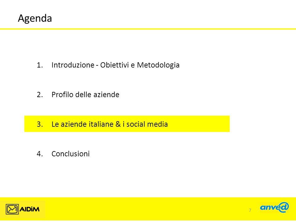Agenda 1.Introduzione - Obiettivi e Metodologia 2.Profilo delle aziende 3.Le aziende italiane & i social media 4.Conclusioni 7