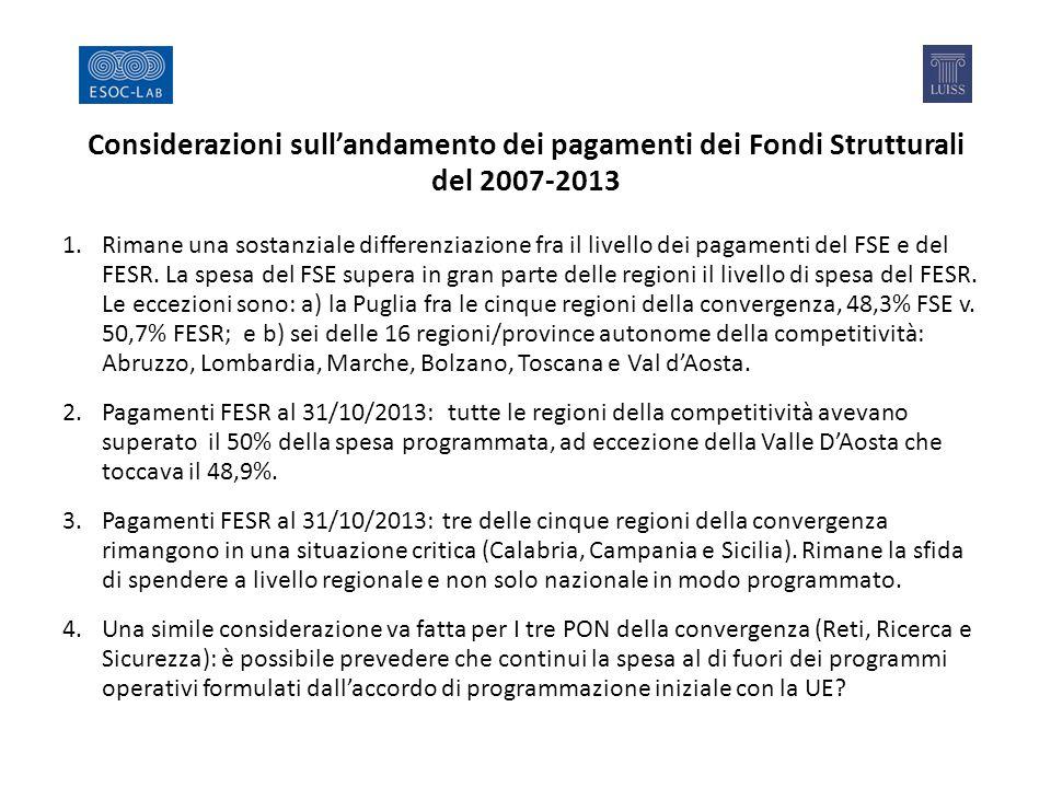 Considerazioni sull'andamento dei pagamenti dei Fondi Strutturali del 2007-2013 1.Rimane una sostanziale differenziazione fra il livello dei pagamenti del FSE e del FESR.
